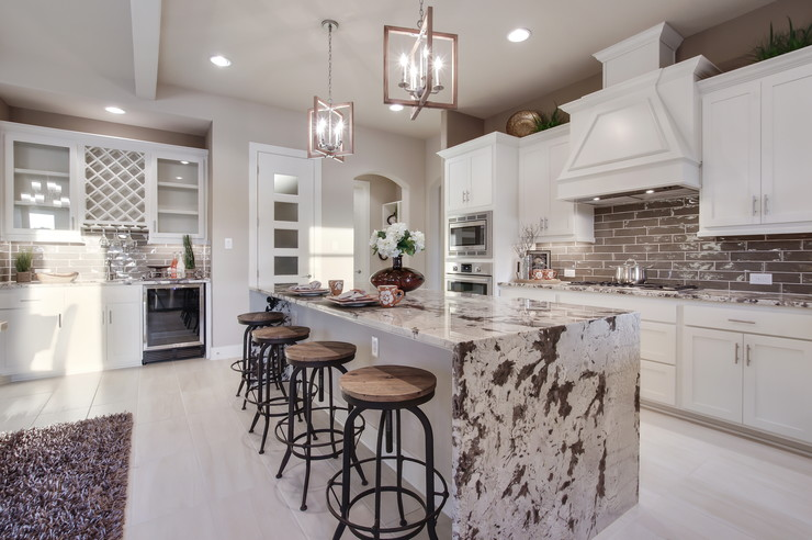 Kitchen w/ opt. waterfall island countertop