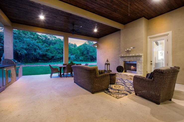 Covered Patio w/ opt. ceiling treatment, can lighting, fire place, outdoor kitchen \u0026 extended